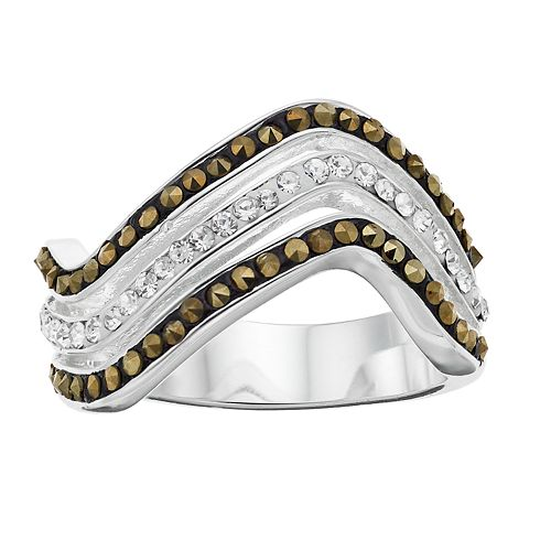 Silver Expressions by LArocks Marcasite & Crystal Wavy Ring