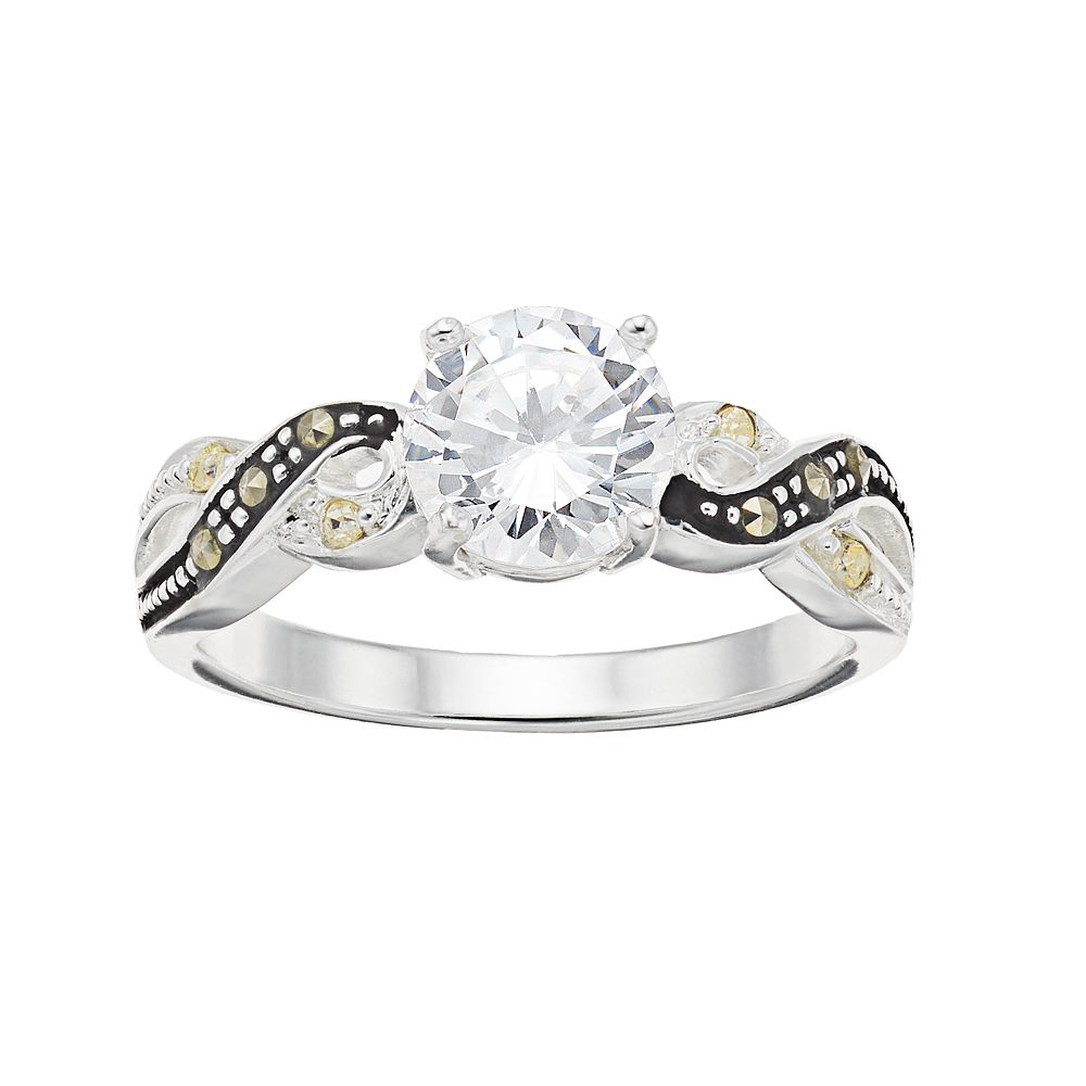 Silver Expressions by LArocks Marcasite & Cubic Zirconia Twist Ring