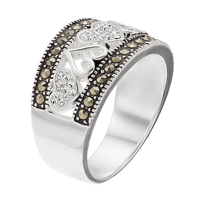 Silver Expressions by LArocks Marcasite and Crystal Hearts Ring