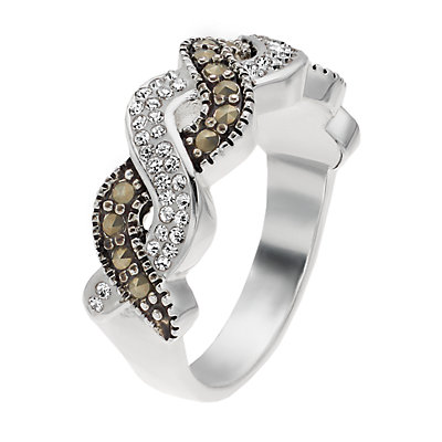 Silver Expressions by LArocks Marcasite and Crystal Twisted Ring