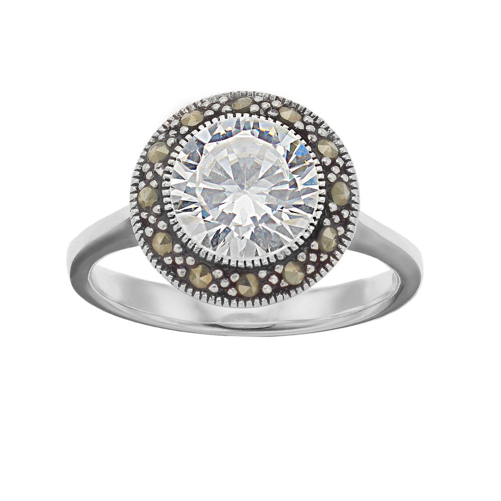 Silver Expressions by LArocks Marcasite & Cubic Zirconia Circle Ring