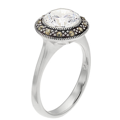 Silver Expressions by LArocks Marcasite and Cubic Zirconia Circle Ring