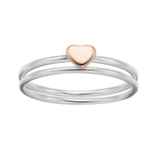love this life Two Tone Heart Ring Set