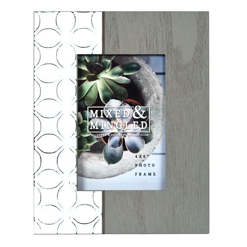 """New View Gifts 4"""" x 6"""" Two-Tone Pattern & Gray Frame"""