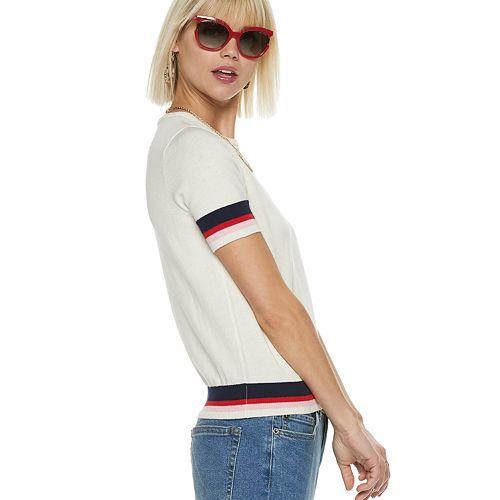 Women's POPSUGAR Striped Short Sleeve Sweater