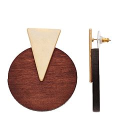 Gold Tone Triangle Circular Post Drop Earrings
