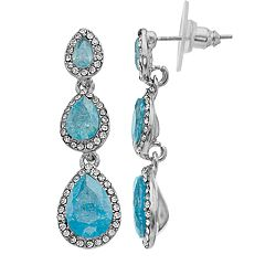 Silver Tone Simulated Stone & Blue Simulated Crystal Linear Teardrop Earrings