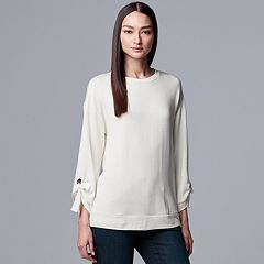 Women's Simply Vera Vera Wang Tie-Sleeve French Terry Sweatshirt