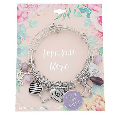 """Love You More"" Charm Bangle Bracelet Set"