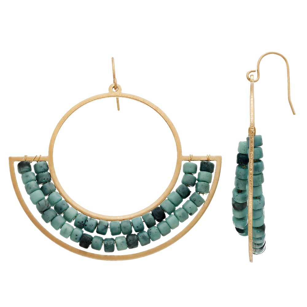 SONOMA Goods for Life® Gold Tone Bead Detail Geometric Drop Earrings