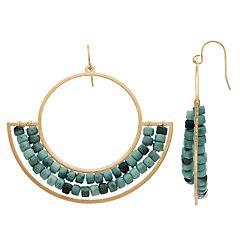 Gold Tone Bead Detail Geometric Drop Earrings