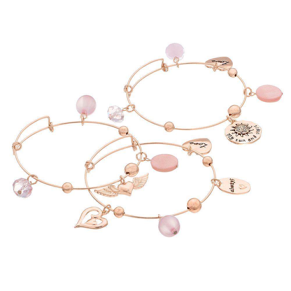 """Love Always"" Charm Bangle Bracelet Set"