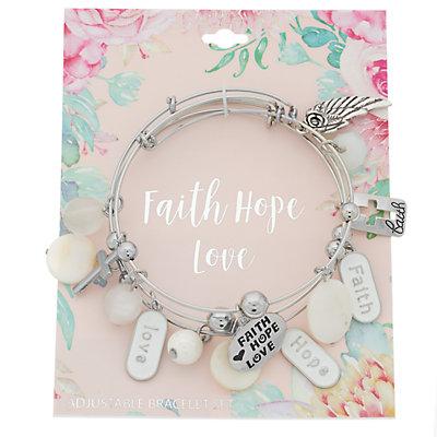"""Faith Hope Love"" Charm Bangle Bracelet Set"