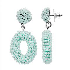 Silver Tone Blue Bead Detail Drop Hoop Earrings