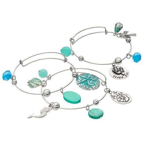 """Beach Girl"" Charm Bangle Bracelet Set"
