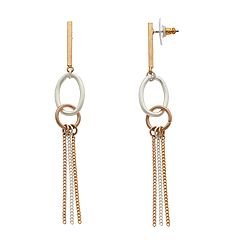 Tri Tone Tassel Detail Hoop Drop Earrings