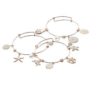 Life's A Beach Charm Bangle Bracelet Set