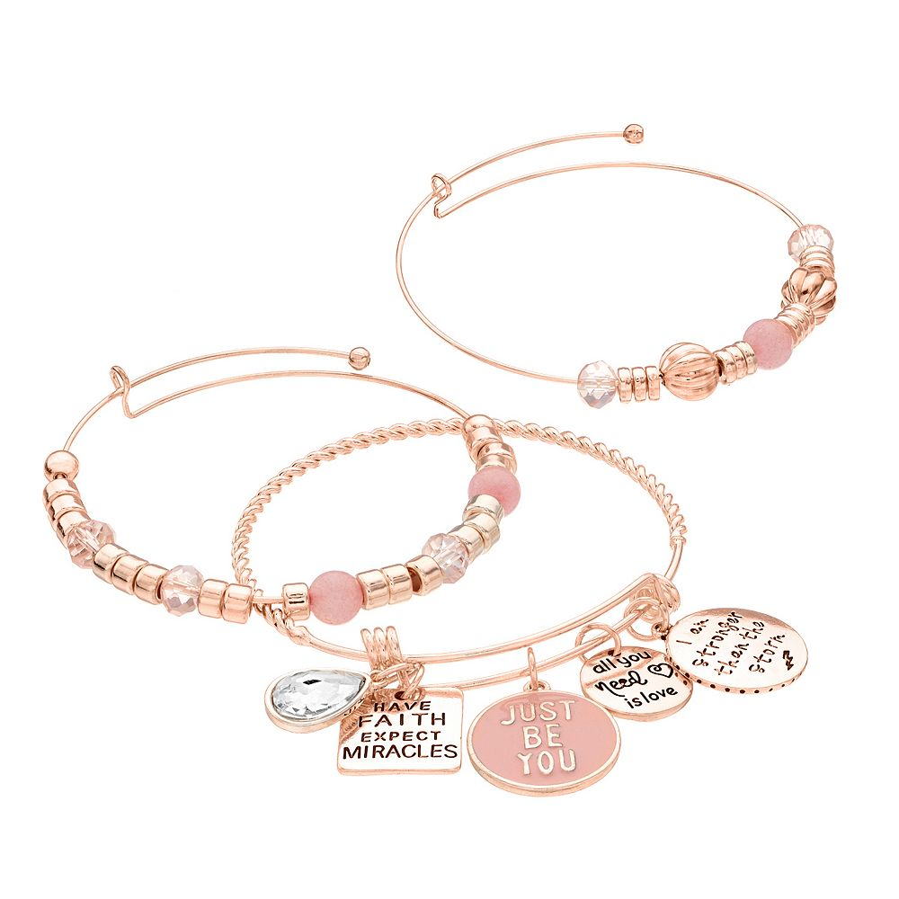 """Believe in Yourself"" Charm Bangle Bracelet Set"