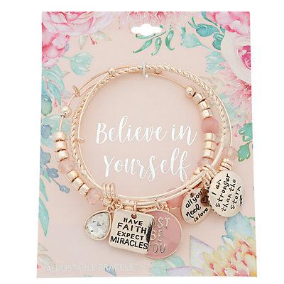 """Believe in Yourself"" Charm Bangle Bracelet Set"