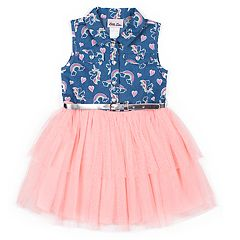 Girls 4-6x Little Lass Rainbow Chambray Tulle Dress