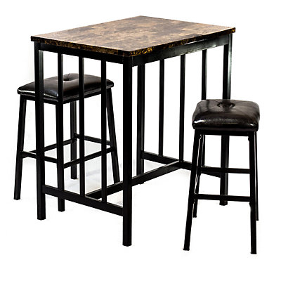 Home Source Brown Table & Counter Stool 3-piece Set