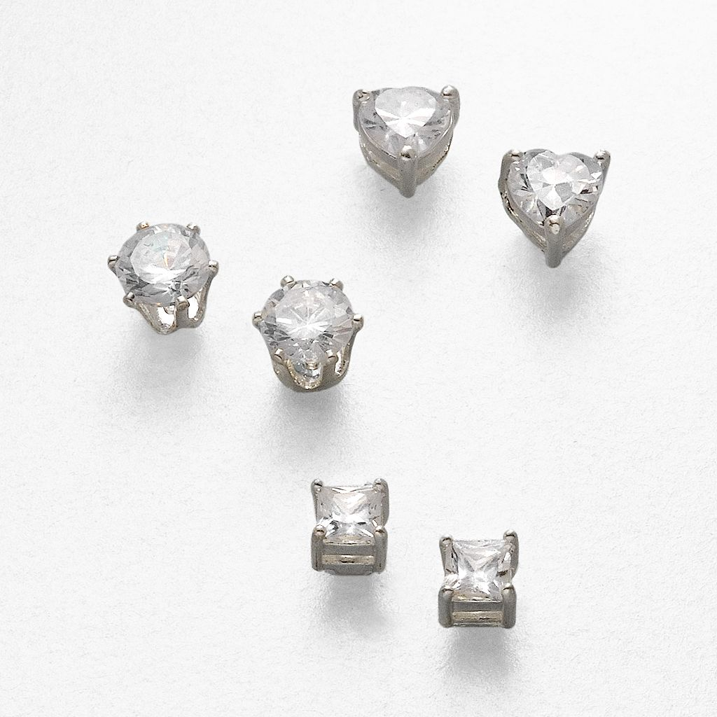 Silver Tone Cubic Zirconia Stud Earring Set
