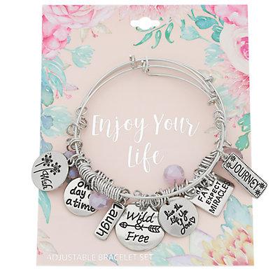 """""""Enjoy Your Life"""" Bangle Bracelet Set"""