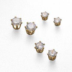 Gold Tone Cubic Zirconia Stud Earring Set