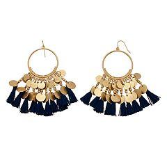 Gold Tone Mini Disc Detail & Blue Tassel Drop Hoop Earrings