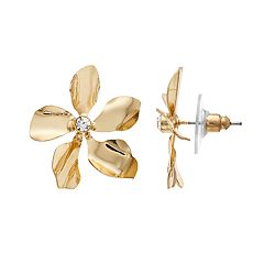Gold Tone Simulated Stone Textured Flower Motif Button Stud Earrings