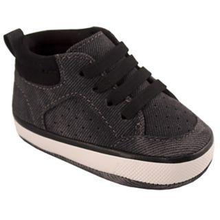 Baby Boy Wee Kids Black Distressed Hi-Top Sneaker Crib Shoes