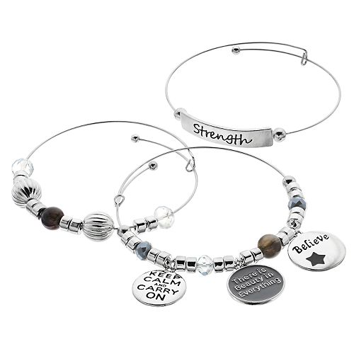 Strength Charm Bangle Bracelet Set