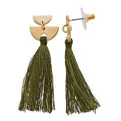 Gold Tone Half Moon Green Tassel Post Drop Earrings