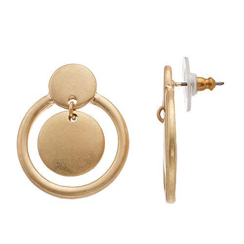 SONOMA Goods for Life® Gold Tone Mini Post Drop Hoop Earrings
