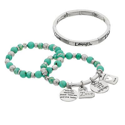 """Live Laugh Love"" Charm Stretch Bracelet Set"