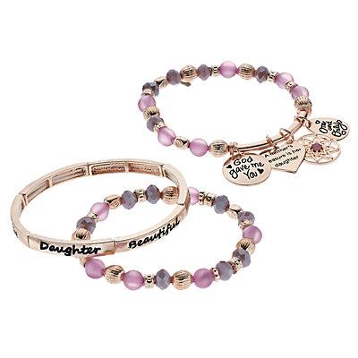 """Daughter"" Beaded Stretch Bracelet Set"