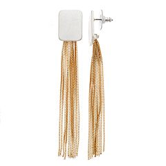 Two Tone Chain Detail Rectangle Drop Earrings