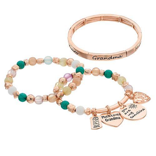 """Grandma"" Charm Stretch Bracelet Set"