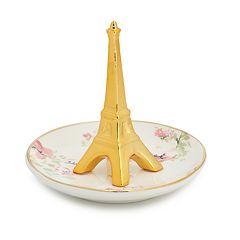 LC Lauren Conrad Gold Tone Floral Pattern Eiffel Tower Trinket Tray