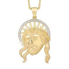 Men's 10K Gold Diamond Accent Pendant Necklace
