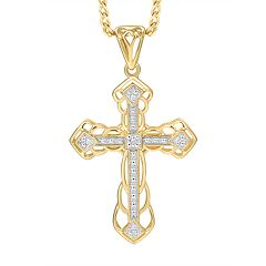 Men's 10K Gold Diamond Accent Cross Pendant Necklace
