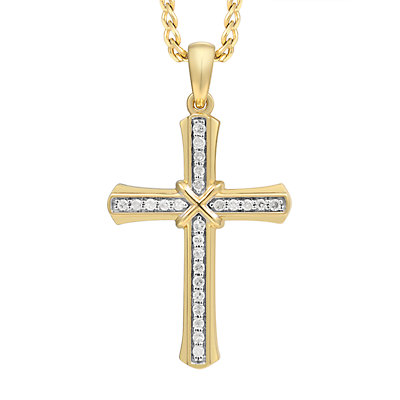 Men's 10K Gold 1/8 Carat T.W. Diamond Cross Pendant Necklace