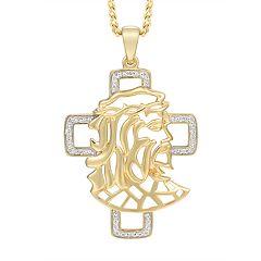 Men's 10K Gold Diamond Accent Jesus & Cross Pendant Necklace