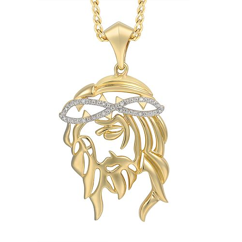 Men's Diamond Accent 10K Gold Pendant Necklace