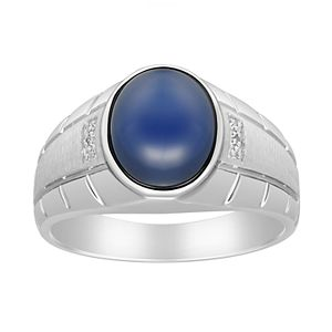 Men's Synthetic Blue Star Sapphire & Diamond Accent Ring
