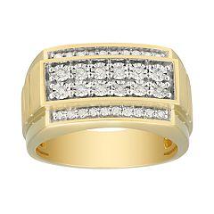 Men's 10K Gold over Rhodium 1/3 Carat T.W. Diamond Ring