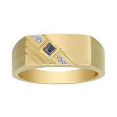 Men's 10K Gold Lab-Create Sapphire Diamond Accent Ring