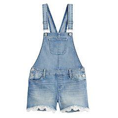 Girls 7-16 SO® Lace Cuff Jean Shortalls