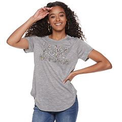 Juniors' Peace, Love, Happiness Graphic Tee