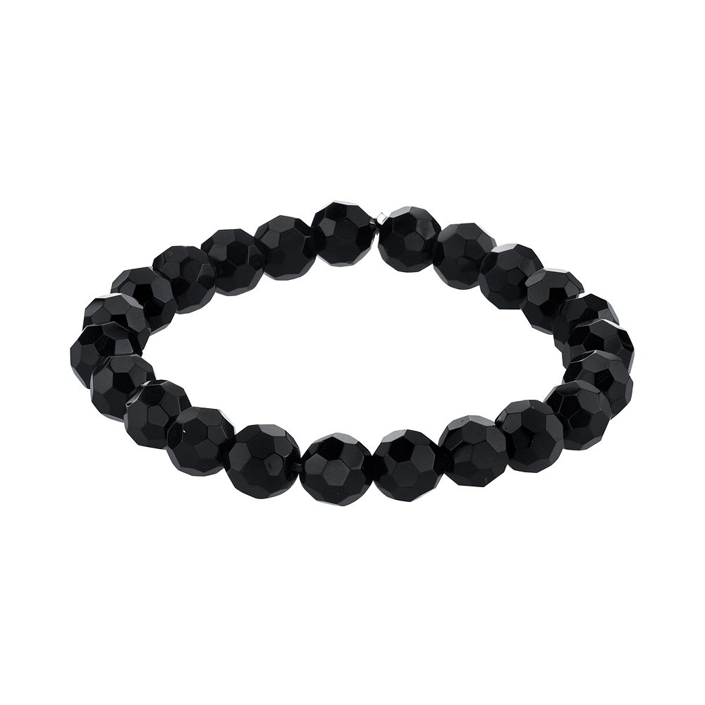 1928 Jewelry Black Tone Black Beaded Stretch Bracelet